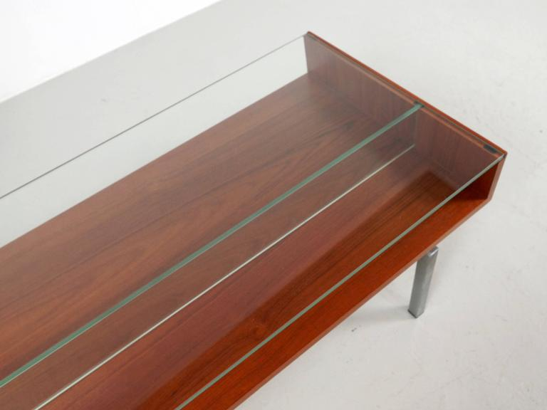 Mid-20th Century Coffee Table in Teak and Glass For Sale