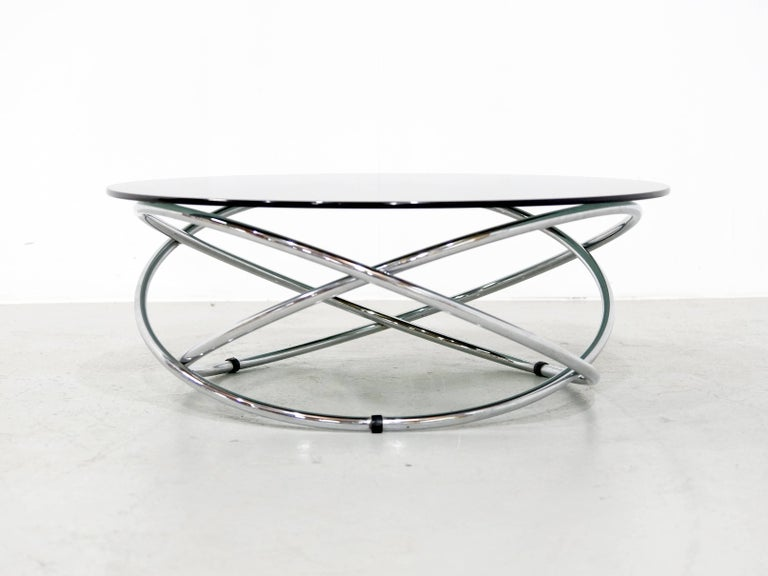 Italian Chrome Rings Coffee Table with Smoked Glass Top, 1960s 3