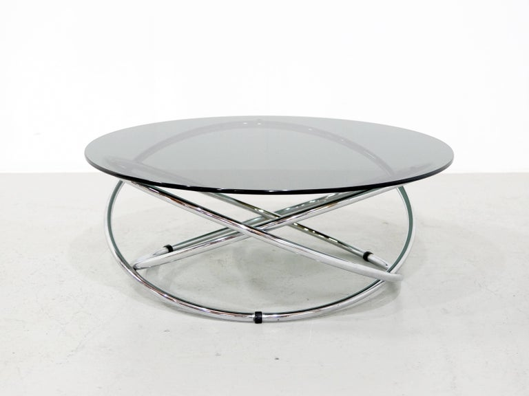 Italian Chrome Rings Coffee Table with Smoked Glass Top, 1960s 4