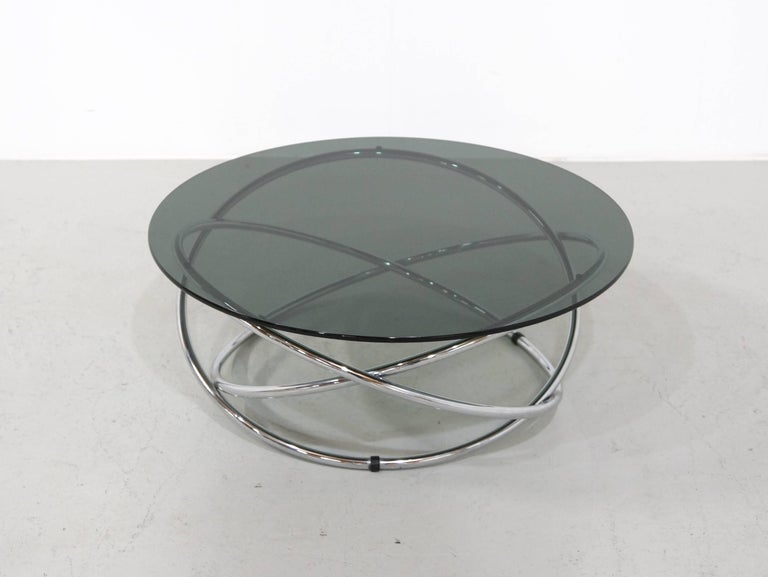 Italian Chrome Rings Coffee Table with Smoked Glass Top, 1960s 5