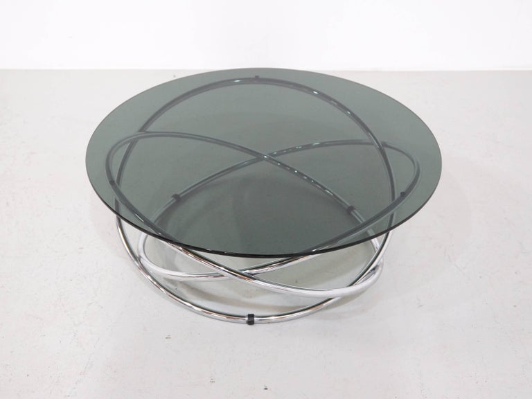 Italian Chrome Rings Coffee Table with Smoked Glass Top, 1960s 6