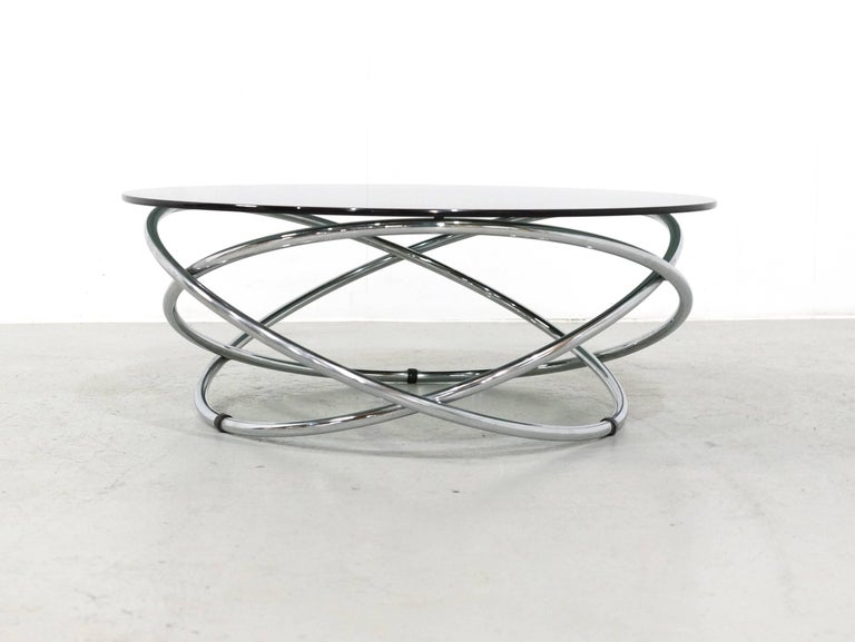Italian Chrome Rings Coffee Table with Smoked Glass Top, 1960s 2