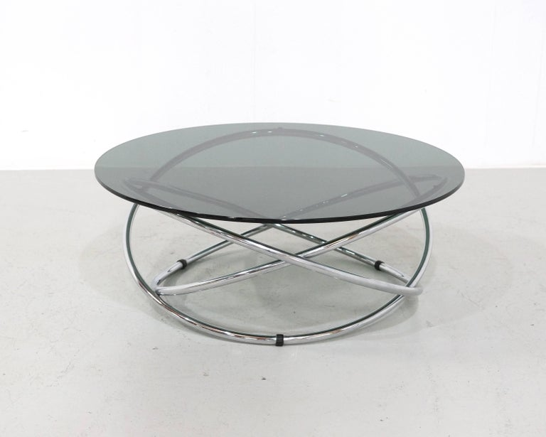 Italian Chrome Rings Coffee Table with Smoked Glass Top, 1960s 7