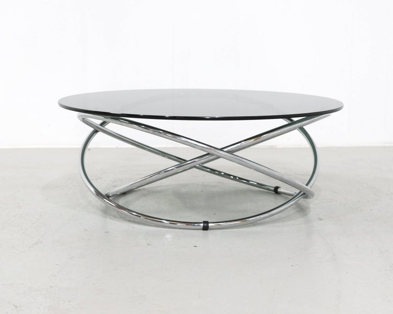 Italian Chrome Rings Coffee Table with Smoked Glass Top, 1960s 8