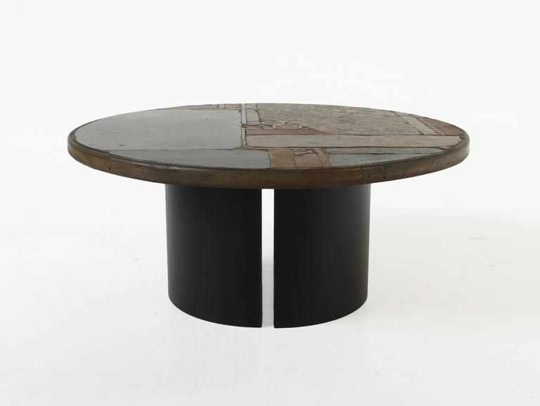 Circular Slate Coffee Table By Paul Kingma 1967 At 1stdibs