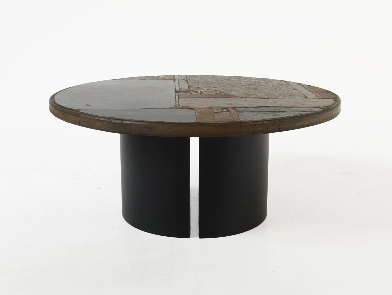 Circular Slate Coffee Table By Paul Kingma 1967 For Sale At 1stdibs