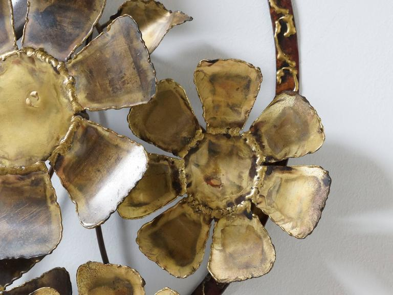 American Brutalist Brass Flower Wall Sculpture Cliff Hyink For Sale