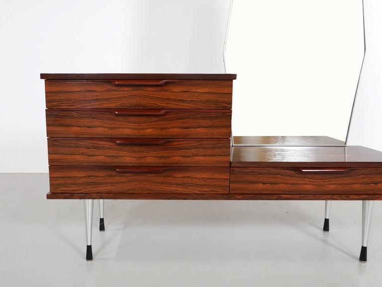 Mid-20th Century 1960s Rosewood Vanity Dressing Table For Sale