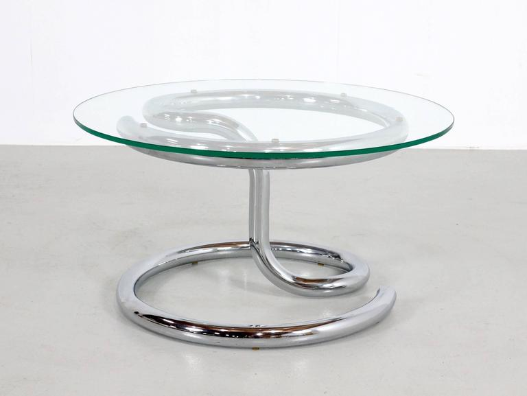 Late 20th Century Paul Tuttle Anaconda Table in Glass and Chrome, 1970s For Sale