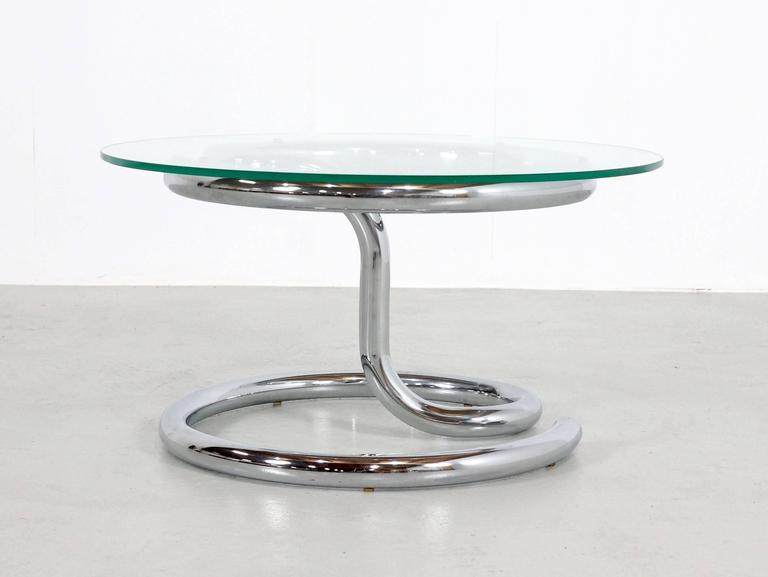 Paul Tuttle Anaconda Table in Glass and Chrome, 1970s For Sale 1