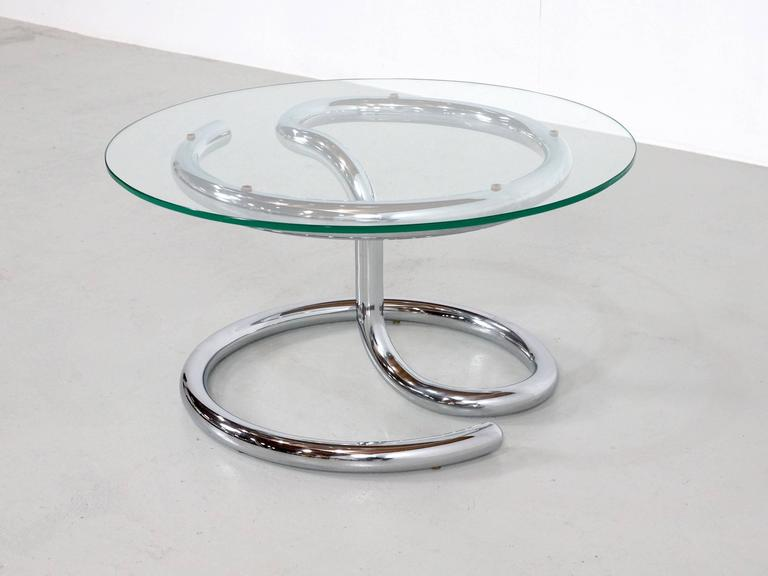 Paul Tuttle Anaconda Table in Glass and Chrome, 1970s In Good Condition For Sale In 's Heer Arendskerke, NL