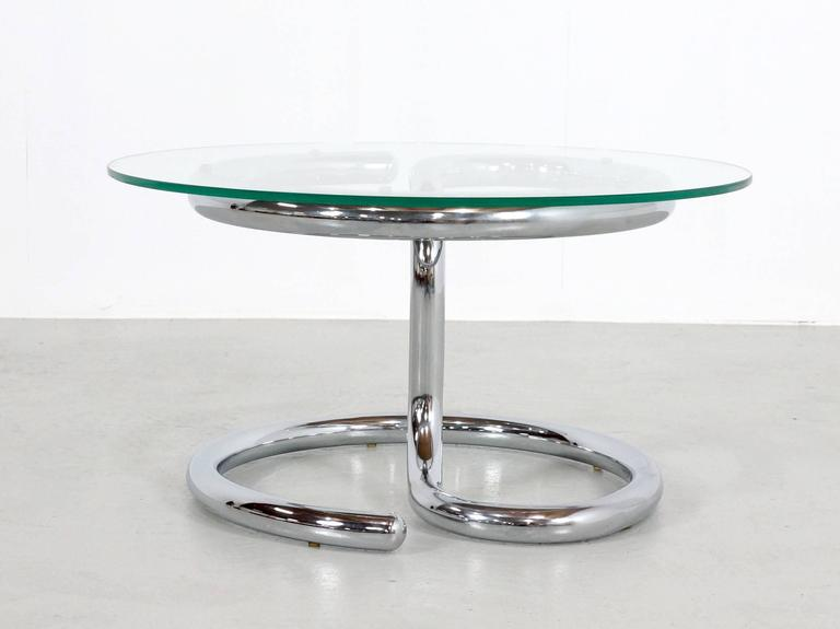 Swiss Paul Tuttle Anaconda Table in Glass and Chrome, 1970s For Sale