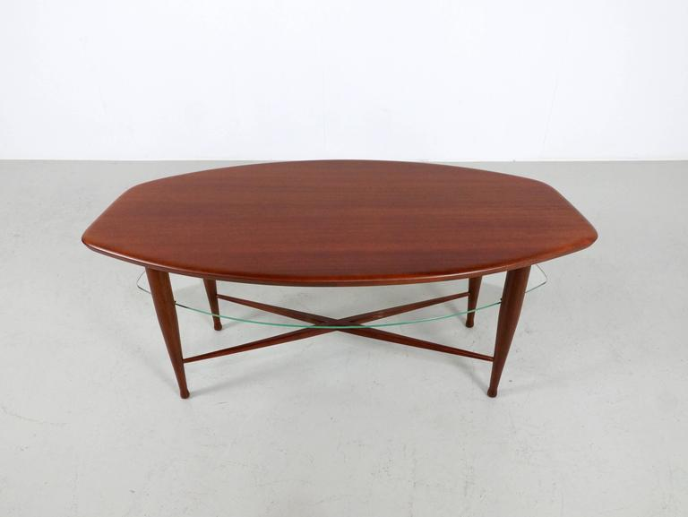 Teak Coffee Table with Glass Magazine Shelve Underneath 2