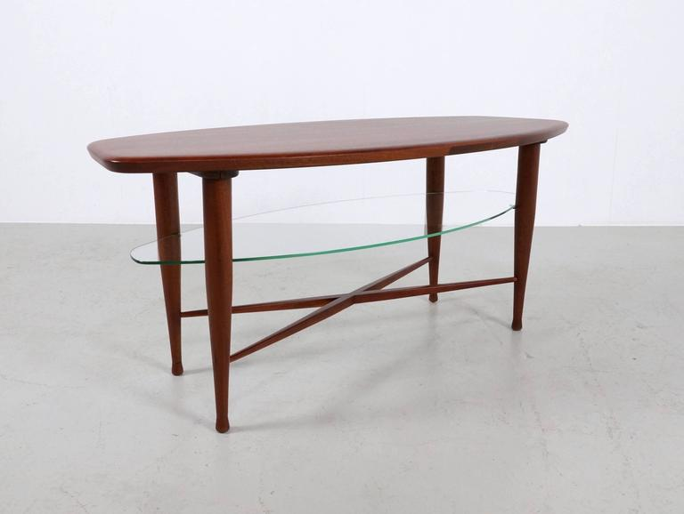 Mid-Century Modern Teak Coffee Table with Glass Magazine Shelve Underneath For Sale