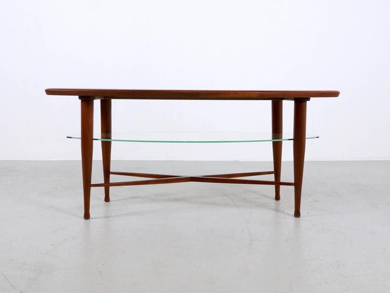 Italian Teak Coffee Table with Glass Magazine Shelve Underneath For Sale