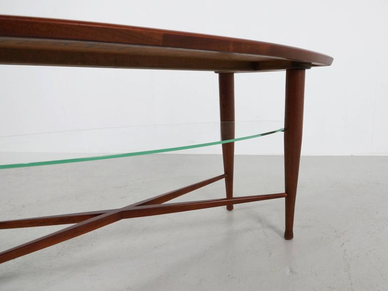 Teak Coffee Table with Glass Magazine Shelve Underneath For Sale 1