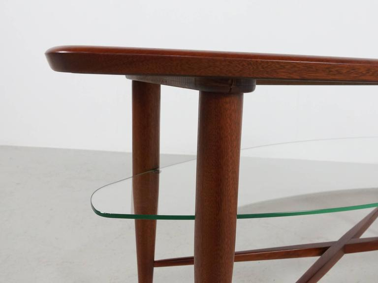 Teak Coffee Table with Glass Magazine Shelve Underneath For Sale 2