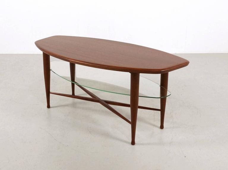 Teak Coffee Table with Glass Magazine Shelve Underneath For Sale 3