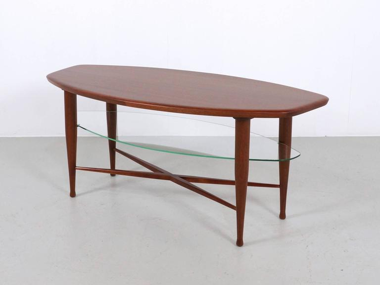 Teak Coffee Table with Glass Magazine Shelve Underneath For Sale 4
