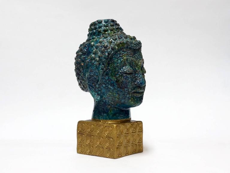 Bitossi Buddha Head Sculpture by Aldo Londi, Italy, 1960s 2