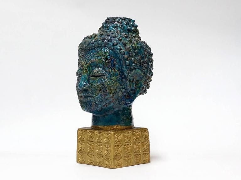 Bitossi Buddha Head Sculpture by Aldo Londi, Italy, 1960s 5