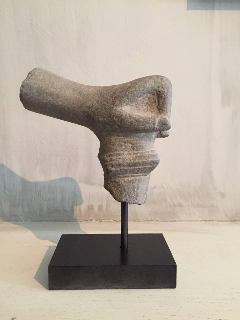 Cambodian 2 Khmer Stone Mudra Hands For Sale