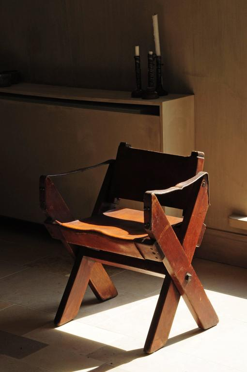 Vintage French Folding Campaign Chair 1960s At 1stdibs
