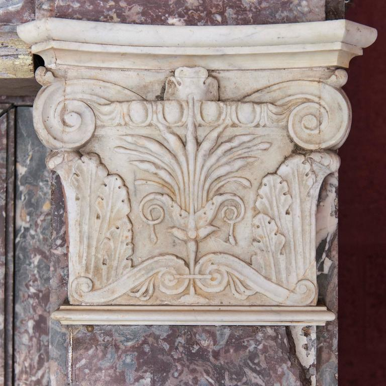 Baroque 17th Century Monumental Chimneypiece Royal Red and Carera Marble For Sale