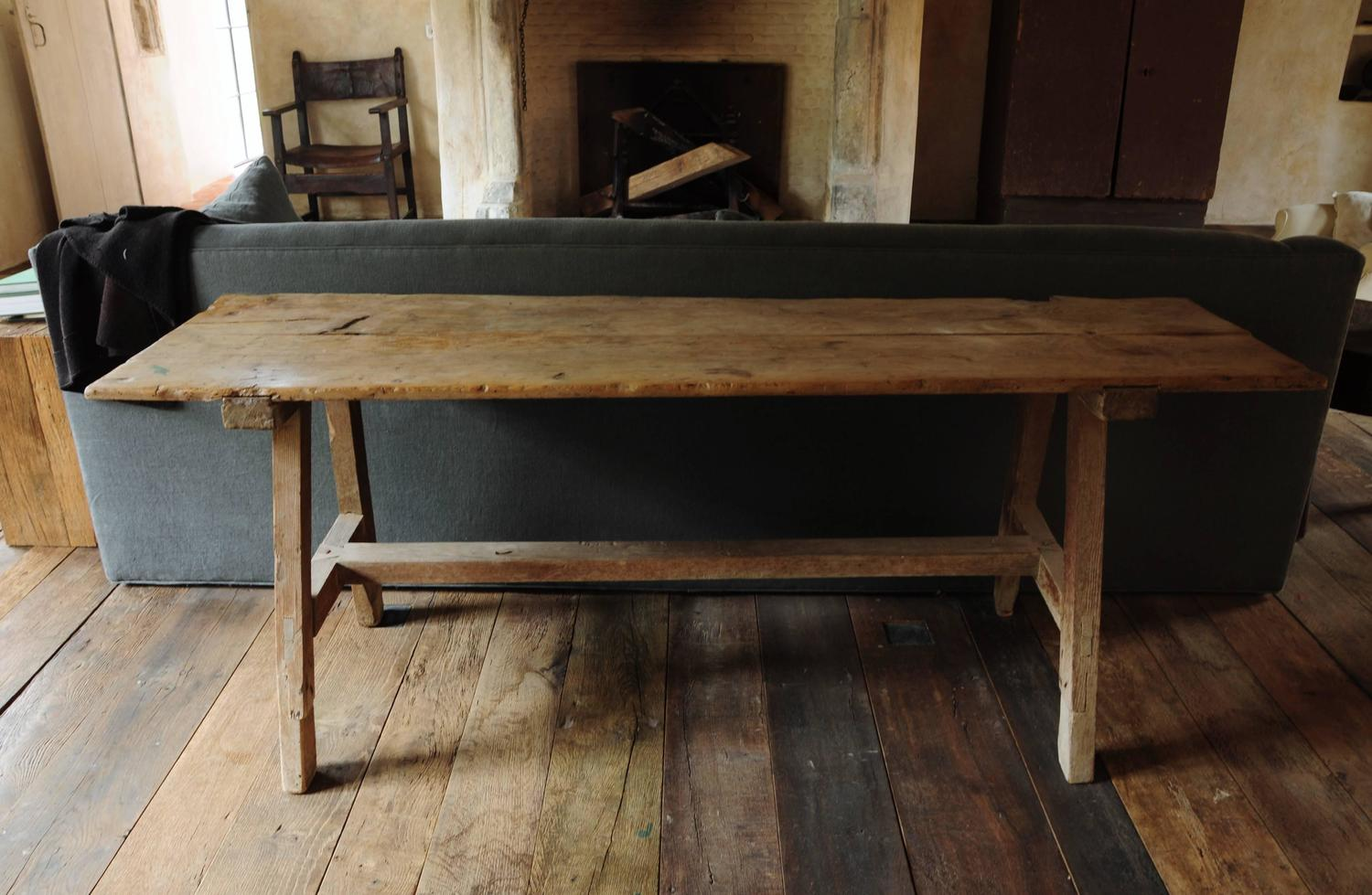 19th Century Softwood Trestle Table For Sale At 1stdibs