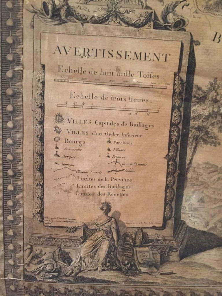 Canvas 18th Century Map of the Bourgogne Region For Sale