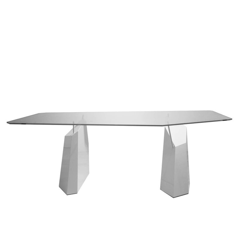 Deriva Steel and Crystal Dining Table For Sale