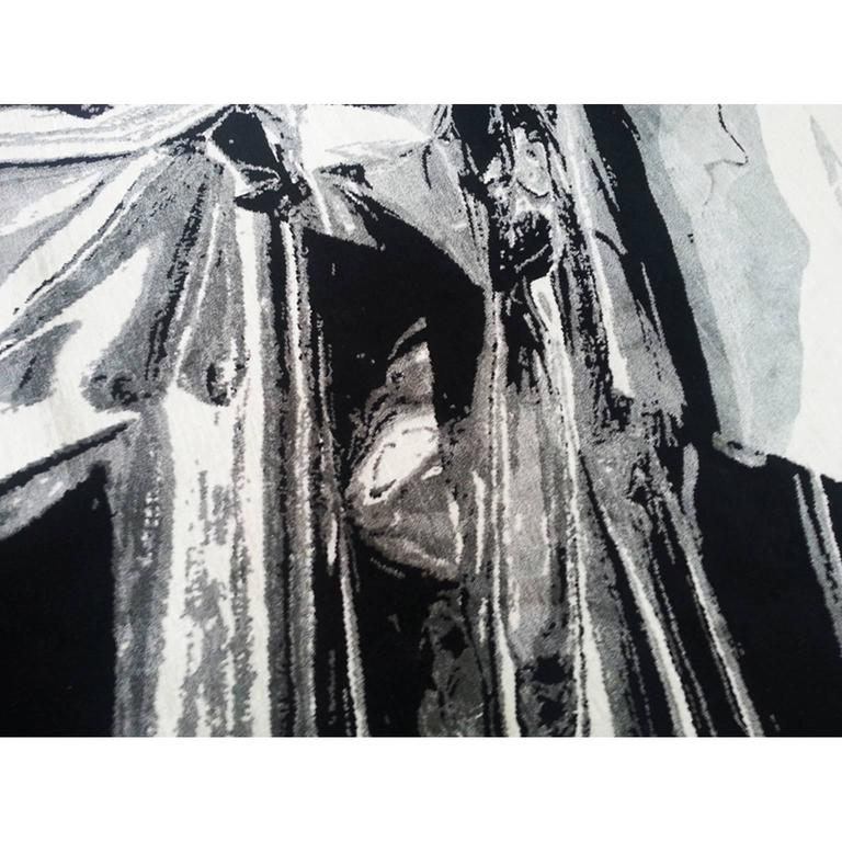 Untitled, 2012 For Henzel Studio Collaborations, Anselm Reyle translated a work from his foil series into the media at hand. Silk has been applied to areas for added sheen that would otherwise provide reflection from the original material.  Anselm