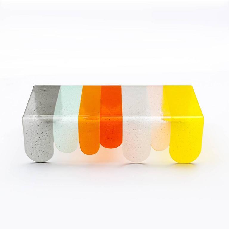 Italian Lunapark Colored Murano Glass Coffee Table For Sale