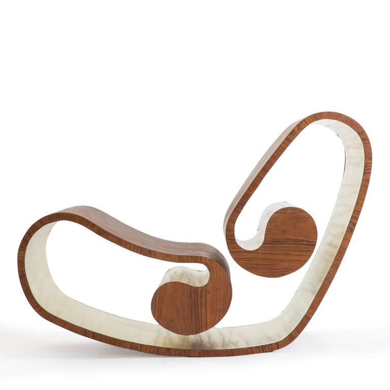Italian Voluta Wood and Brass Handmade Rocking Chair For Sale