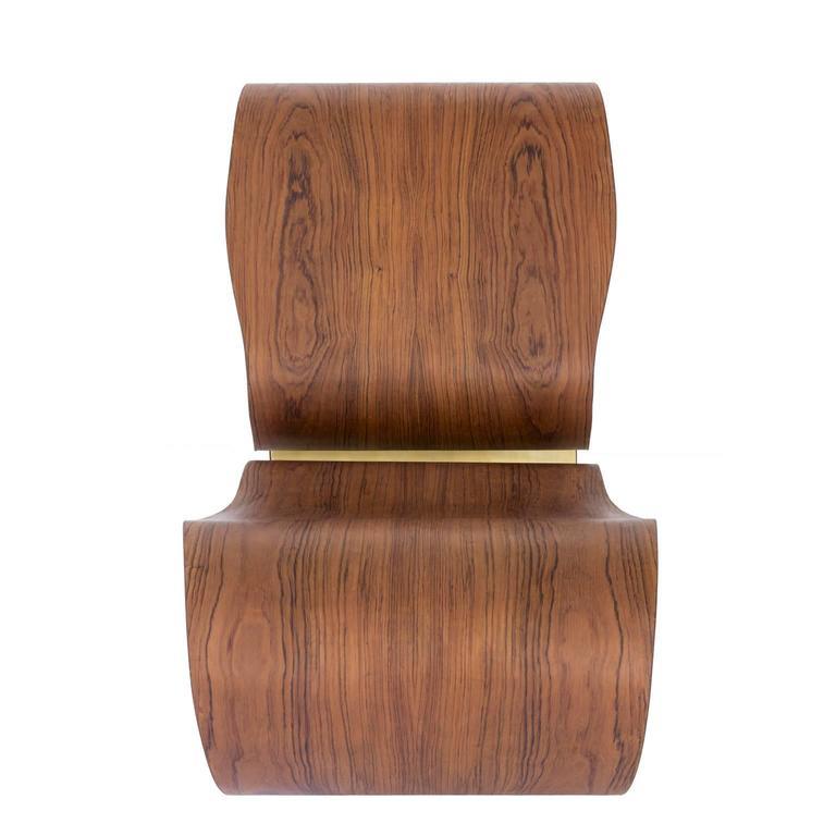 Veneer Voluta Wood and Brass Handmade Rocking Chair For Sale