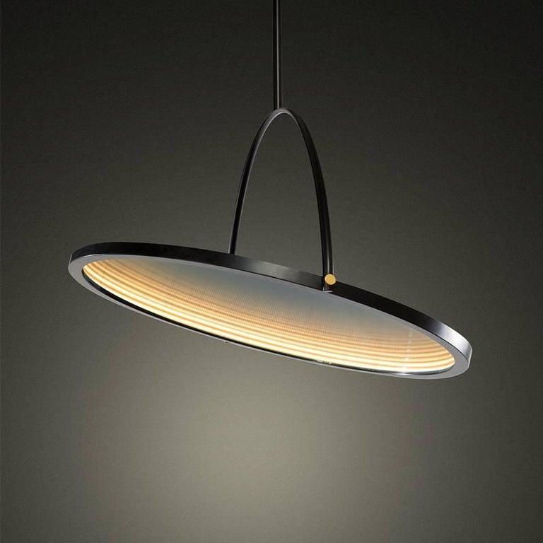 Italian Oblio Mirrored Suspension Lamp For Sale