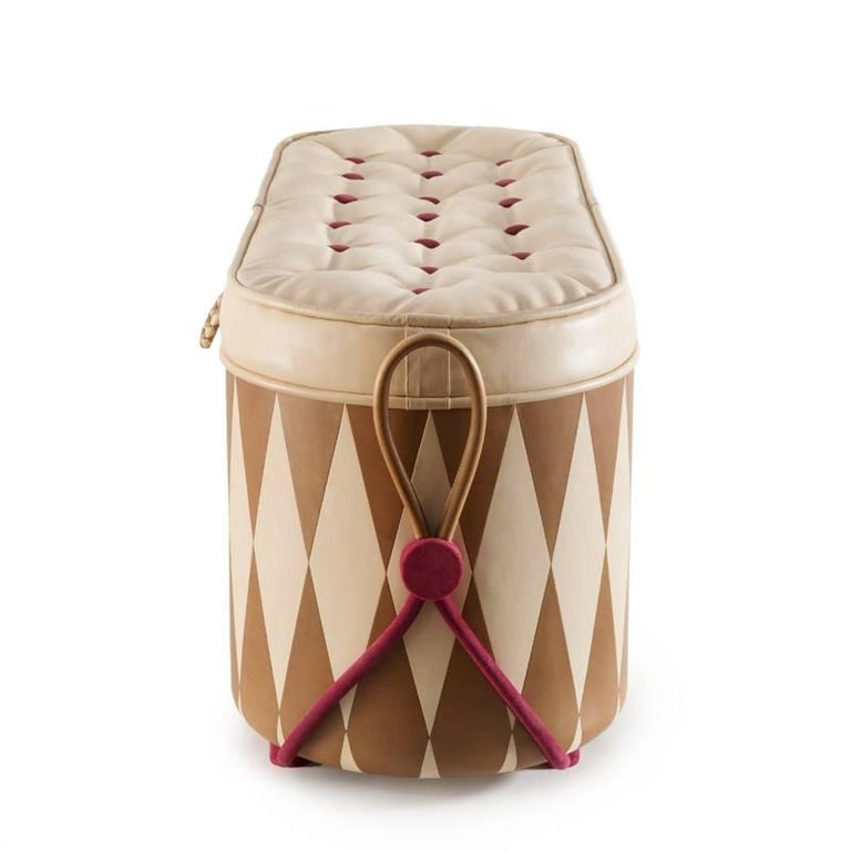 Lacquered Wunderbrust, Chest of Wonders Leather and Wood Chest-Ottoman For Sale