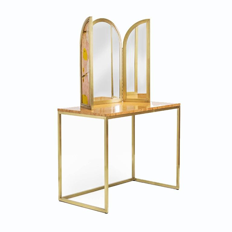 Italian Awaiting Vanity Table with Mirror Velvet and Brass For Sale