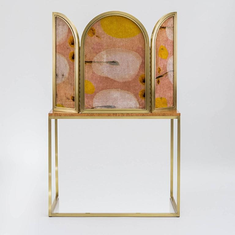 Awaiting Vanity Table with Mirror Velvet and Brass In New Condition For Sale In Roma, IT