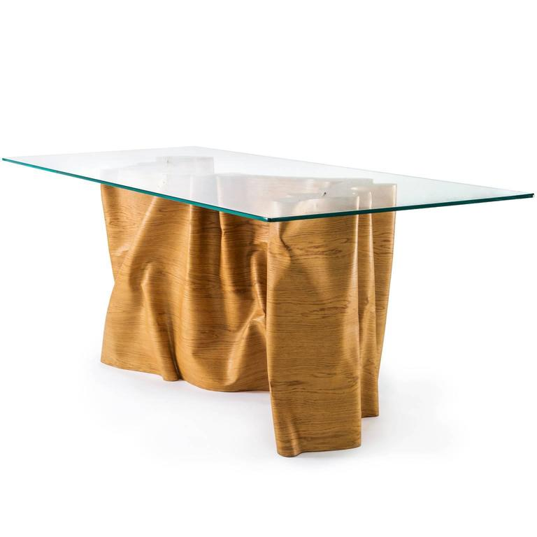 Brutalist Una 'Articolo Indeterminativo' Curved Wood and Crystal Table For Sale