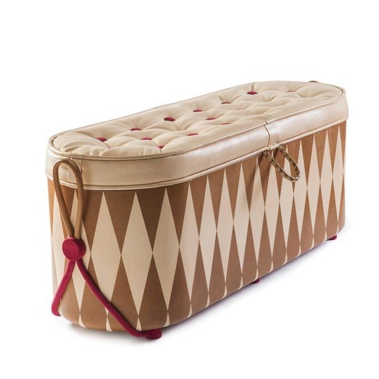 Wunderbrust, Chest of Wonders Leather and Wood Chest-Ottoman For Sale 1