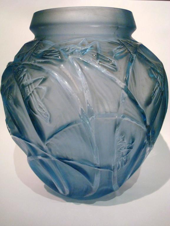 Art Deco Rene Lalique Sauterelles Vase For Sale