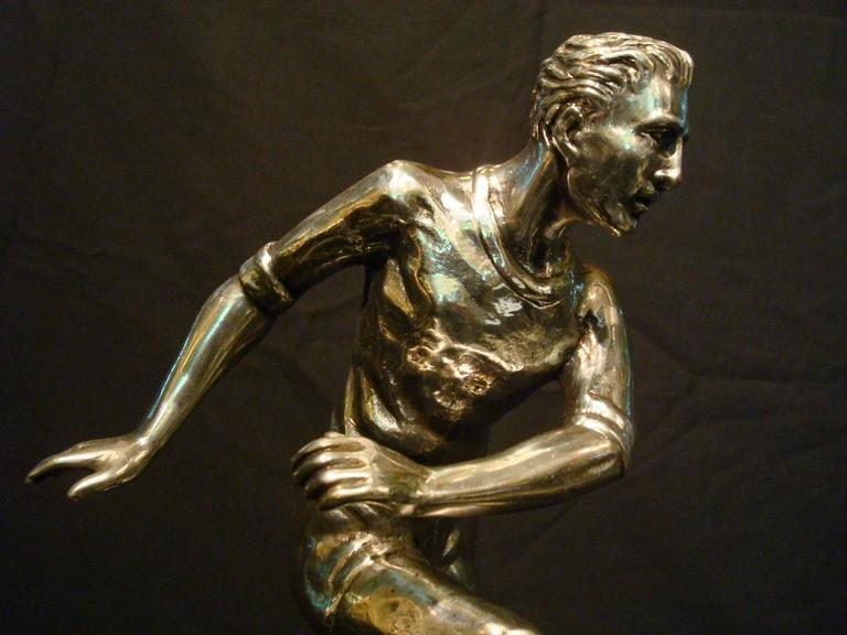 Art Deco Football / Soccer Trophy Player Italian Bronze Sculpture, 1930s For Sale