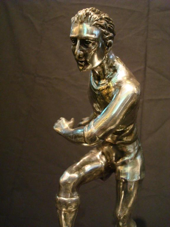Silvered Football / Soccer Trophy Player Italian Bronze Sculpture, 1930s For Sale