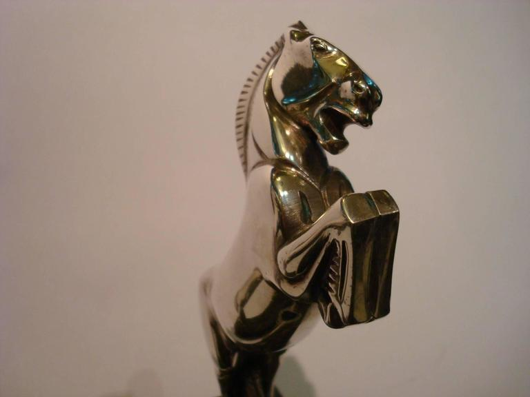 Art Deco Silvered Bronze Horse Bookends by Becquerel, France, 1930 For Sale 2