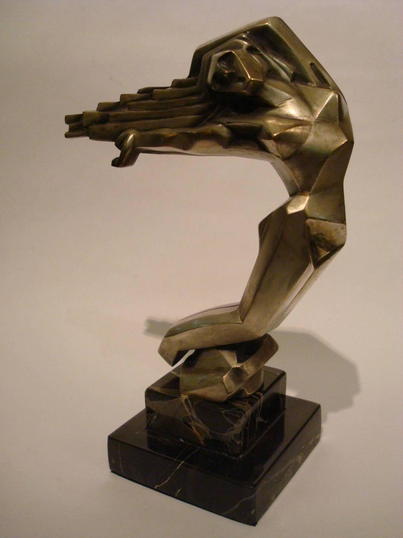 art deco women car mascot hood ornament france 1930 d i m cubist at 1stdibs. Black Bedroom Furniture Sets. Home Design Ideas