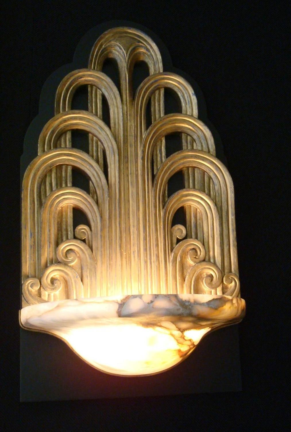 Pair of Art Deco Fountain Sconces Wall Lights Theater ...