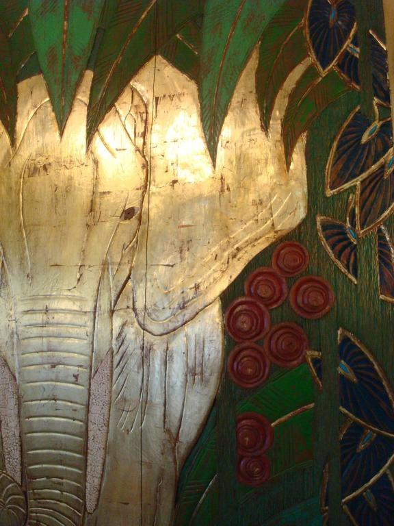 Art Deco Polychromed Carved Elephant in the Middle of the Jungle ...