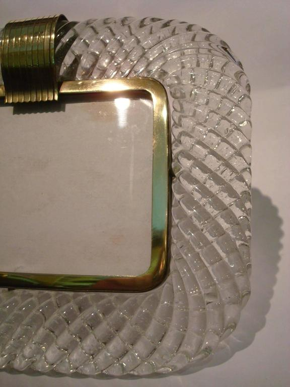 Mid-Century Modern Elegant Venini Murano Twisted Glass Rope Picture Frame, Italy, 1940s For Sale