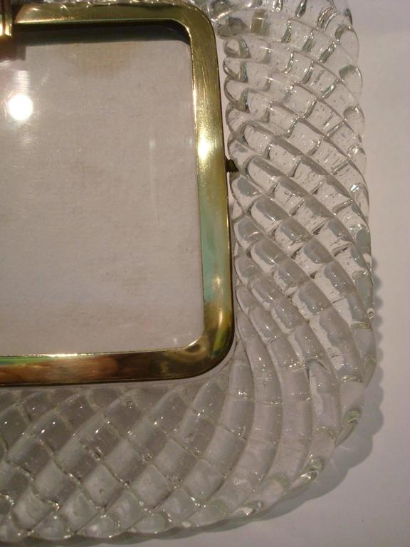 Elegant Venini Murano Twisted Glass Rope Picture Frame, Italy, 1940s In Good Condition For Sale In Buenos Aires, Olivos